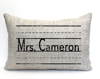 "teacher gift, teacher pillow, teacher appreciation, personalized pillow, gift for her, christmas gift ""The Mrs. Cameron"""
