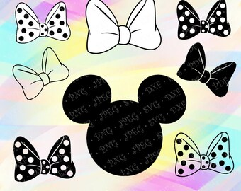 SVG PNG Minnie Mouse Head Ears Polka dot Black White Bow Disney Cut Vector File Cricut Design Silhouette Studio Coloring Page Tshirt Iron on
