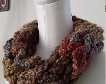 Crochet & Arm Knitted Neck Warmer in Winter Tones