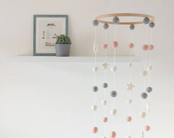 Pink Nursery Mobile / Pink Grey White Felt Ball Mobile /  Baby mobile / Felt Balls  / Cot mobile / Nursery Decor / Mobile for Nursery