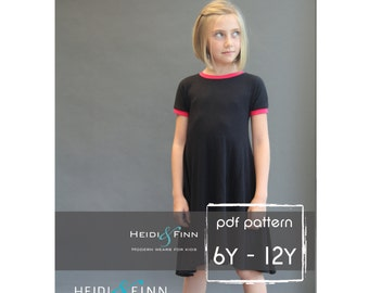Kopic tunic dress PDF sewing pattern and tutorial 6-12y  tunic dress jumper  easy sew