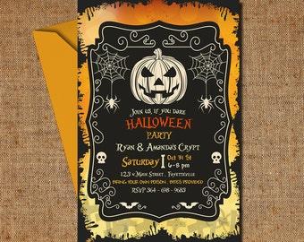 Halloween Birthday Invitations, Party Invitations, Halloween Birthday Party Invitation Printable Invites| MHA_03