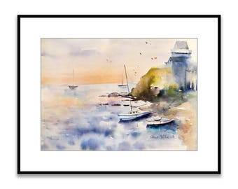 Original  watercolor of  seascape in Brittany, boats at Saint-Malo - Solidor Tower in Brittany, original painting of the ocean in France