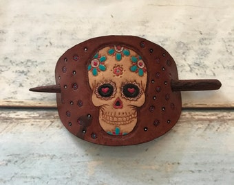 Tooled sugar skull leather hair slide