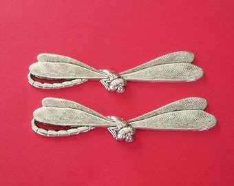 Dragonfly Ox Silver  Brass Stamping Ornament  Art Deco Antiqued Silver Jewelry Findings.(2)