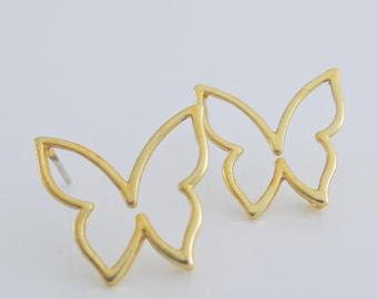 Gold Earrings - Butterfly Earrings - Dainty Earrings - Stud Earrings - Small Earrings - Nature Earrings