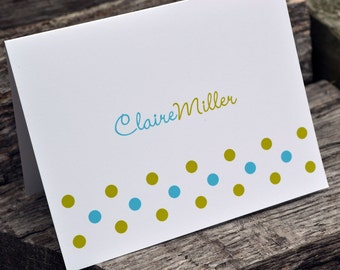 Personalized Polka Dot Note Cards / Personalized Stationery / Thank You Notes / Personalized Notecards / Stationary Set / Lots of Dots