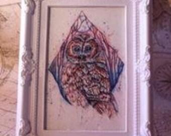 Framed owl print, tawny owl, owl art, owl gift, owl lovers gift, tawny owl gift, owl illustration, owl decor, framed owl gift, owl