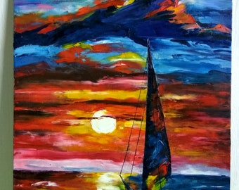 picture,oil,sunset,sea,boat,boat at sunset,beautiful oil painting,painting,original oil painting,sea sunset