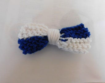 Blue and White, Bow Tie, Clip On,Large Size