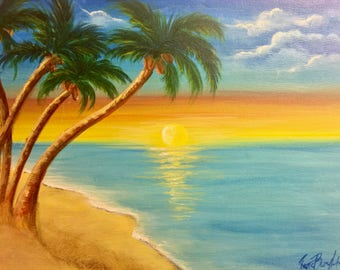 "Original Acrylic Painting - Titled: Caribbean Sunset - 9"" x 12"""