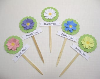 10 Daisy Cupcake Toppers - Food Picks - Cupcake Picks - Flower Cupcake Toppers - Baby Shower Favors - Wedding Favors - Birthday Decoration
