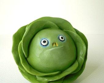 Polymer Clay Vegetable Sculpture - Funny Cabbage Decor - Custom Cabbage Figurine - Halloween Decor - Fake Food Decor - Veggie Figurine
