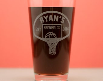 Home Brew Personalized Basketball themed Pint Glass, home brew gift, homebrew, beer gift, personalized gift, custom home brew glass