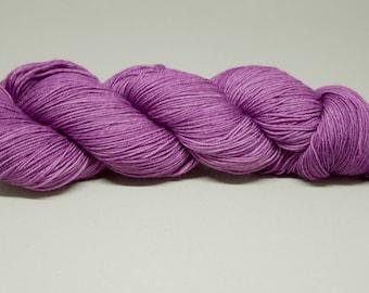 Hand dyed sock yarn semi-solid Sugar Plum - Superwash Merino/Nylon blend 4-ply