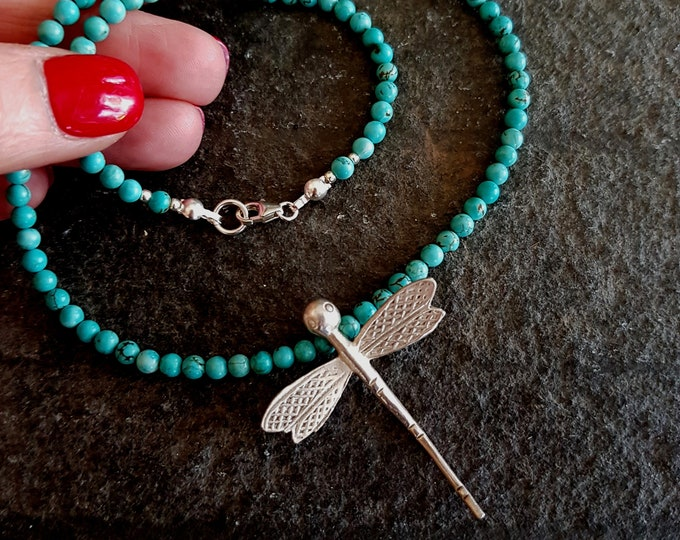 Turquoise choker necklace Karen Silver Dragonfly pendant- December Birthstone jewelry - Chakra - Healing gift