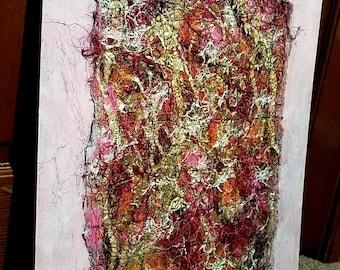 16x20 Abstract Mixed Media Textile Art on Wood Art Board