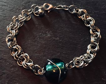 Handmade Chain Link Bracelet with green glass bead