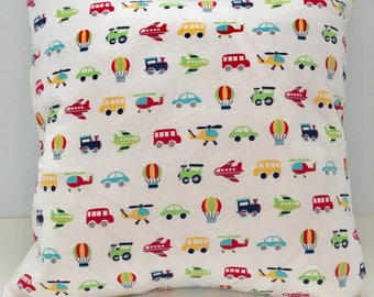 16x16 Baby Trains, Automobiles, Planes Pillow Cover for Bedroom, Nursery, Game Room, Kids Reading Area, or Gift