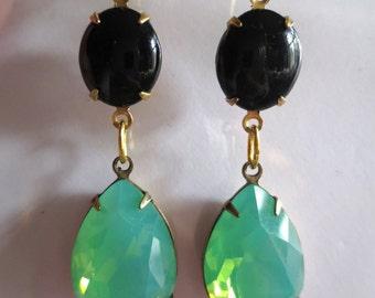 Edwardian earrings vintage style  1920s 1930s Art Deco earrings black green opal crystal drop long Victorian earrings Edwardian jewellery