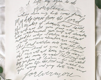 12x16 Psalm 121 Print, I Lift My Eyes, Inspirational Hand-lettered Art