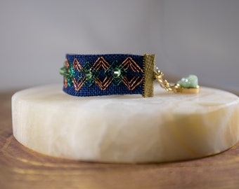 Green & Gold - hand embroidered and beaded bracelet