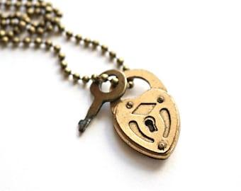 Vintage Brass Heart Lock Necklace / mini padlock necklace, brass heart pendant, brass heart necklace, heart padlock necklace, small padlock