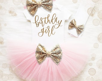 Birthday Girl 2nd Birthday Outfit | Blush Pink And Gold 2nd Birthday Tutu Set | 2nd Birthday Shirt | 2nd Birthday Outfit | Birthday Tutu Set