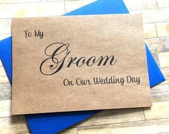 Rustic Wedding Groom Card - To my Groom On Our Wedding - Card from Bride - Wedding Day Card - Rustic - CLASSIC KRAFT