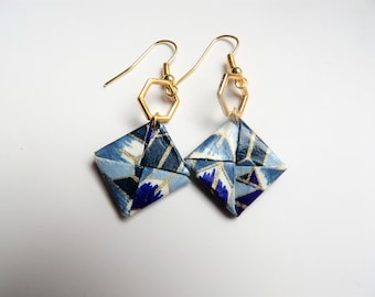 Square gold hexagons with origami leaf earrings