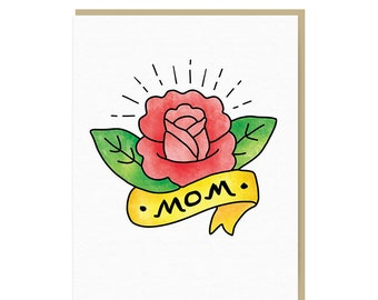 Sale! - Mom Birthday Card - Mother's Day Card - Mom Tattoo Card - Best Mom Ever - Handmade Card - Hand Drawn Card