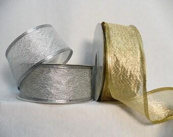 "Metallic wired ribbon size 1.5"" x 10 yards, wedding ribbon, holiday ribbon, gift wrapping"
