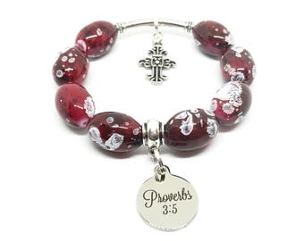 Proverbs 3:5 Christian Beaded Bracelet, Faith-based Charms