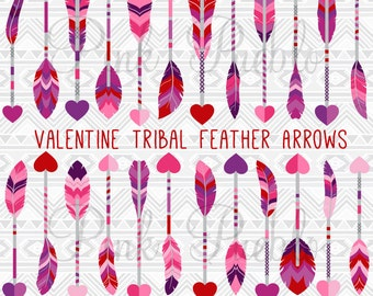 Valentine's Day Feather Arrows Clipart Clip Art Vectors, Valentine Tribal Feather Arrow Clip Art Clipart Vectors - Commercial and Personal