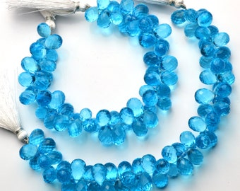 "Swiss Blue Topaz Color Hydro Quartz Facet 8x12MM Approx. Drop Shape Briolettes Beads 8"" Full Strand Swiss Blue Color Super Fine Quality"