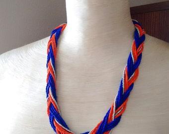 Blue necklace beaded necklace orange necklace braid necklace seed bead necklace boho necklace retro necklace statement necklace gift ideas