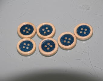 6 blue and Brown wooden buttons