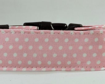 Dog Collar, Martingale Collar, Cat Collar - All Sizes - Light Pink Polka Dots