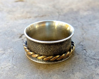 Silver Ring for Women With Brass Spinning Ring Oxidized Silver Ring for Women Meditation ring Fidget ring Womens Namaste ring Worry ring