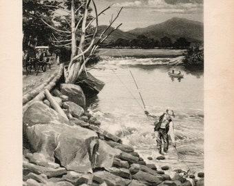 Original Antique Delaware River Smallmouth Bass Flyfishing Print by Watson 1907