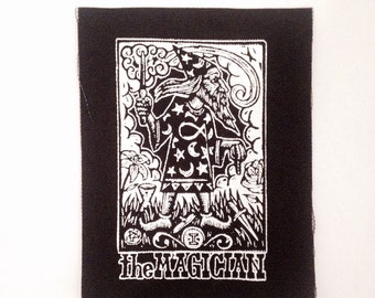 Punk Patch - Tarot Card Sew On Punk - Magican Tarot Patch - Sew On Punk Patch -  Tarot Card Patch - Wizard Patch - Jacket Patch -  Patches