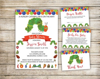 Very Hungry Caterpillar Baby Shower Invitation, Very Hungry Caterpillar Baby Shower Invitation Set, Caterpillar, Instant Download