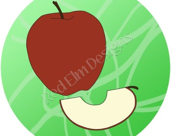 "Apple Fruit Stickers - Sheet of 20 - 2"" round. Apple Fruit Birthday Party Favors.  2 Inch Round Apple Fruit Stickers"