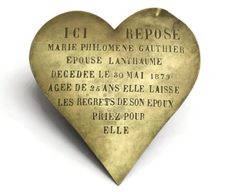 Antique Bronze Heart Grave Marker. French Memorial Plaque. Antique Heart Mourning Plaque.