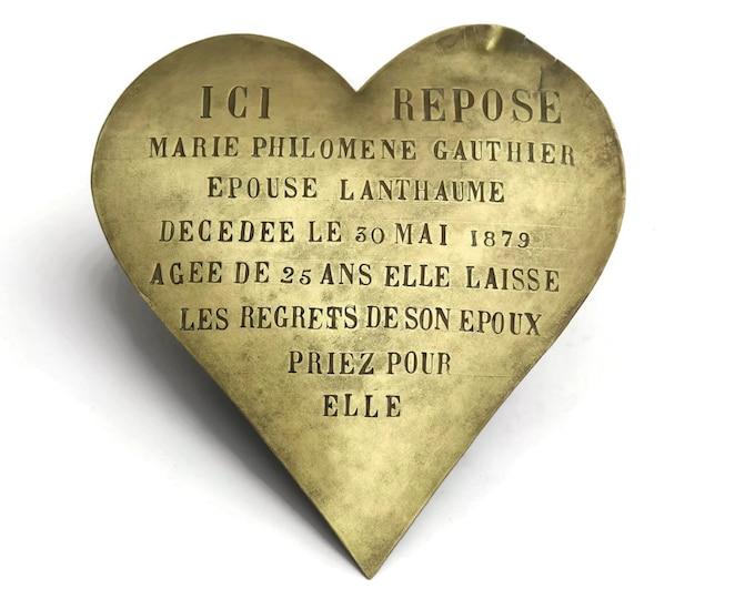 Antique Bronze Heart Grave Marker. French Memorial Plaque. Antique Heart Mourning Plaque.