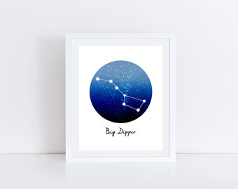 Big Dipper, Ursa Major, Constellation Print, Big Dipper Print, Big Dipper Gift, Birthday Gift, Zodiac Print, Space Art, Constellation Decor