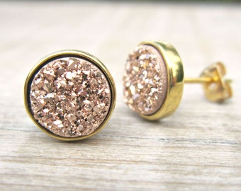 Rose gold druzy studs, druzy earrings, bridesmaid jewelry, rose gold earrings, raw stone earrings, bridesmaid gift, 18k gold plated, bridal