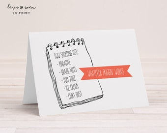 """Infertility / Trying to Conceive / TWW Card: """"Two Week Wait Shopping List Humor""""  5"""" x 7"""" Folded (Blank Inside) - Envelope Included"""