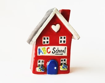 Little Red Schoolhouse | Clay Schoolhouse | Little Clay House | Red School | Whimsical house | Little Crooked House | Terrarium House