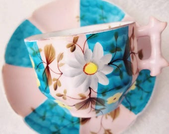 Unique and Colorful Vintage Bone China Tea Cup and Saucer / Beautiful Blue and Pink/  Collectable